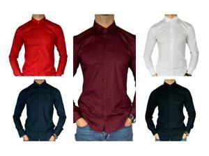 Camicia-Uomo-Slim-Fit-Cotone-Elastico-Manica-Lunga-Tinta-Unita-aderente-BIANCO