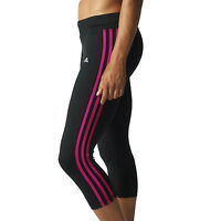 adidas Performance Womens 3 Stripe 3/4 Tights Gym Running Pants Bottoms - Black