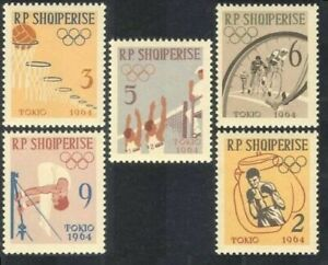 Albania 1963 MNH 5v No Gum, Olympics, Sports, Cycling, Volleyball, Boxing
