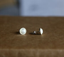925 Sterling silver stud earrings with natural Mother of Pearl Shell Cabochon