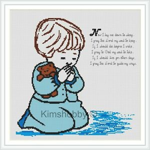 039-039-Now-I-lay-me-down-for-a-Boy-039-039-IS-A-14ct-CROSS-STITCH-KIT-WITH-ARIADNA-DMC