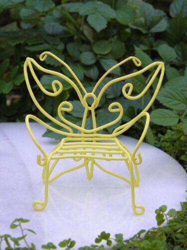 Miniature Dollhouse FAIRY GARDEN Furniture ~ Yellow Metal Butterfly Chair Bench