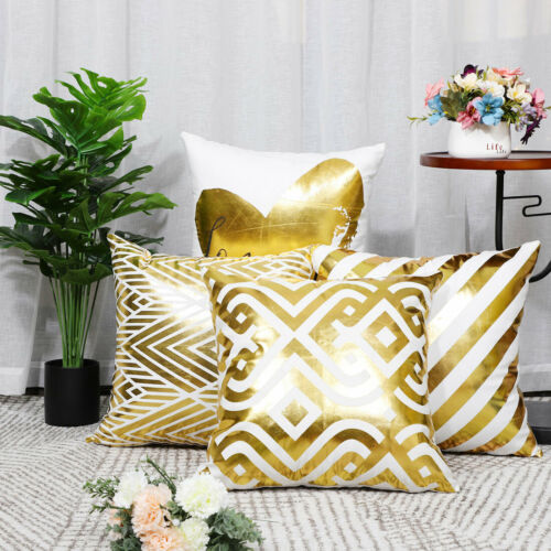 Polyester Throw Pillow Covers Gold Bronzing Flannelette Cushion Cover Set of 4