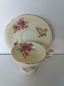 Vintage-Aynsley-Multi-color-floral-design-on-Eggshell-white-rare-amp-collectible