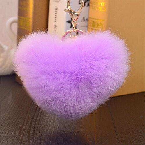 Keyring Soft Faux Fluffy Rabbit Fur Heart Pompom HandBag Pendant Charm Keychain
