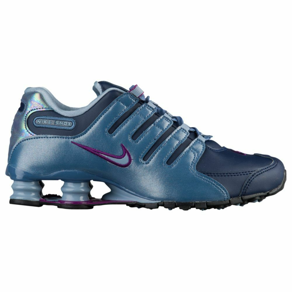 NIKE Shox NZ Women's Running Shoes Size 7 Navy Grey Purple - 636088 400