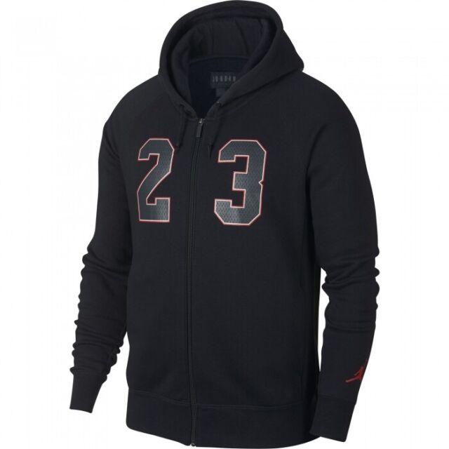 Nike Air Jordan NSW AJ 3 Flight Full Zip Fleece Hoodie Men Black Red 943924-010