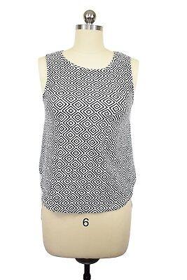 Anthropologie Deletta Blouse Size XS Black White Diamond Sheer Asymmetrical Hem
