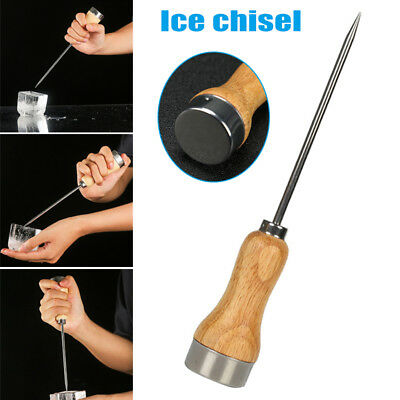 Wood Handle Drink Hole Punch Kitchen Tool Durable Steel Shaft Ice Pick