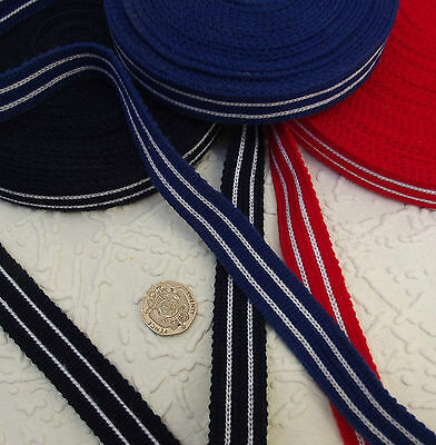 "10 metres FABRIC BRAID TRIM striped 18 mm 3/4"" dress-making NAVY ROYAL BLUE RED"