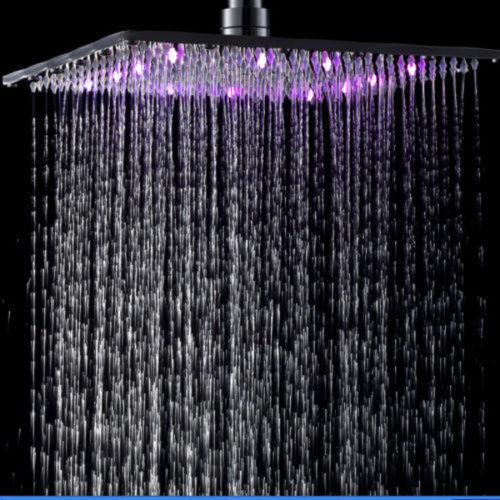 "8/"" LED Shower Head Square Chrome Finished Brass Top Shower Rainfall Sprayer"