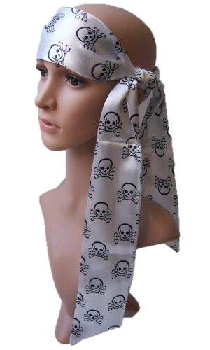 Skull Scarf Hair Band Headband Belt Scherpe White Pirate Carnival T5079
