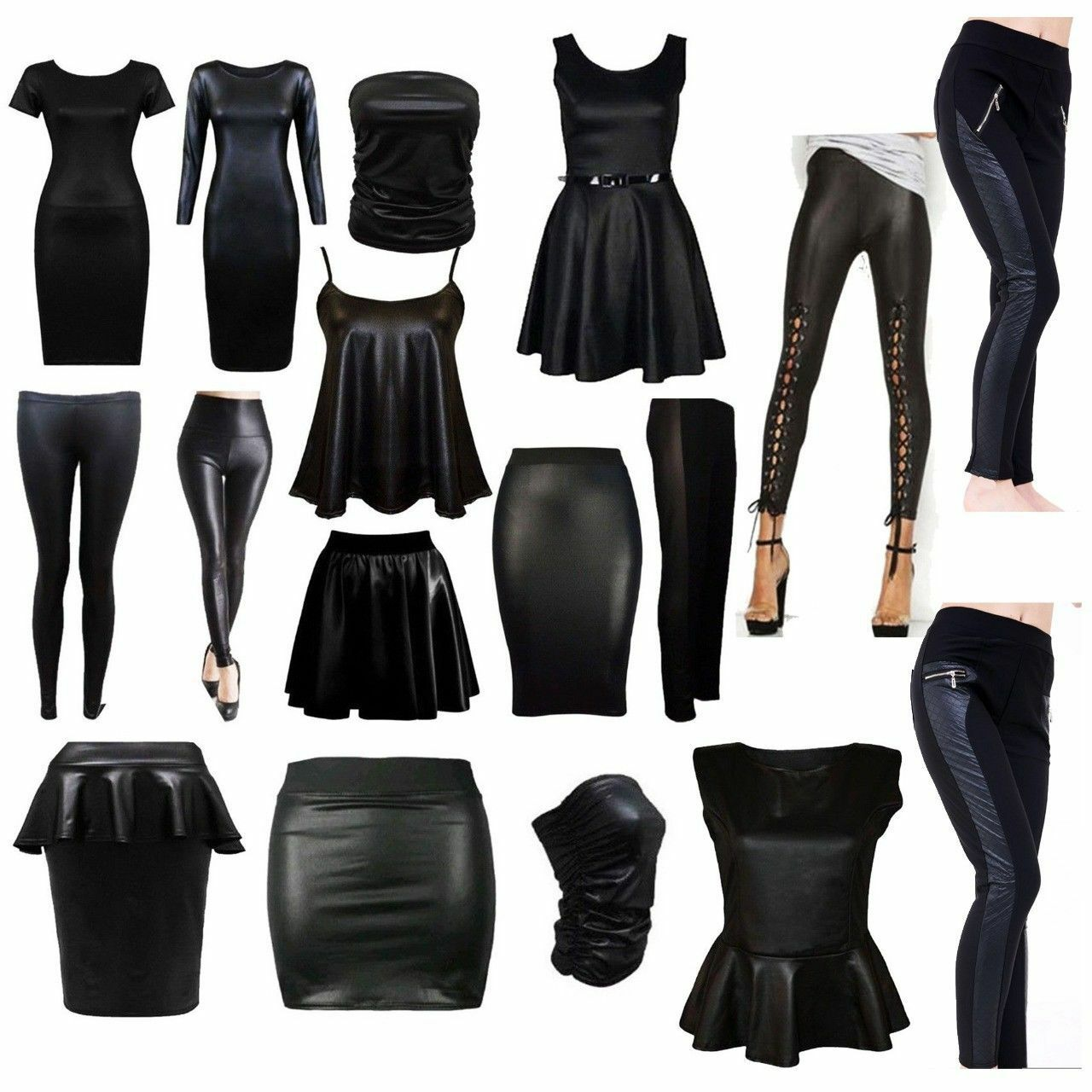 Women/'s High Waist Wet Look Midi Skirt PU Leather Stretchy Pencil Bodycon Dress