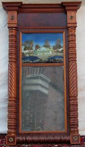 Federal Period Reverse Painted Decorative Antique Mirror