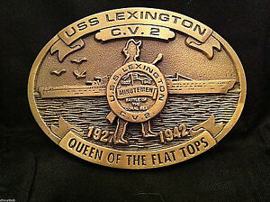 USS-Lexington-WWII-Custom-Navy-Belt-Buckle-C-V-2-Solid-Brass