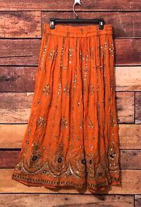 Monroe-Main-Flare-Skirt-Sz-M-Orange-Crepe-Embellished-Sequin-Boho-Hippie-NWT