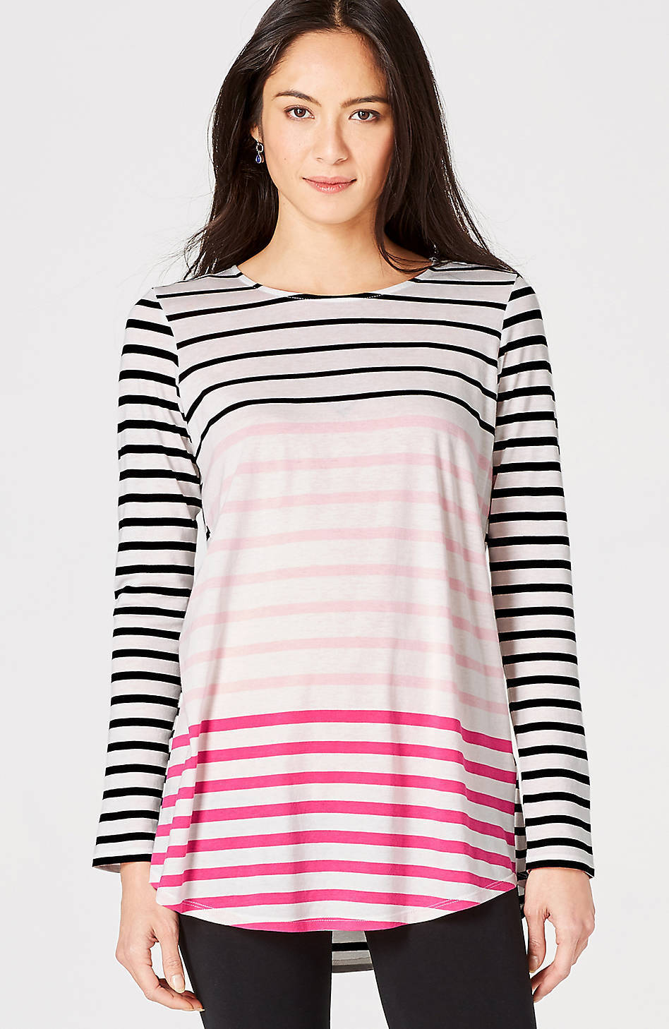 J. Jill -3X(Plus)  - Gorgeous Hot Rosa Multi Mixed-Stripes Knit Tunic - NWT