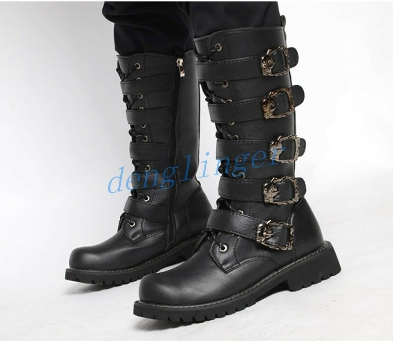Mens Mid Calf CowboyS Boot gothic black buckle Block Army Military Round tOE SZ