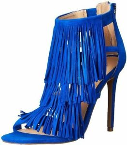 e3f21a64712 Details about $129 size 6 Steve Madden Fringly Blue Suede Open Toe Ankle  Strap Sandals shoes