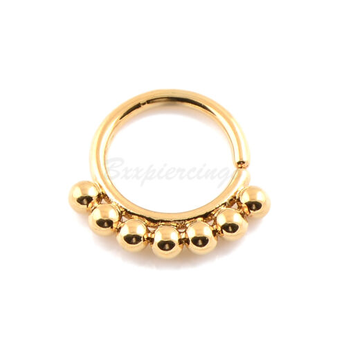 "10mm 1pc 1.4mm Gauge 3//8/"" Brass SEPTUM Clicker DAITH Ring Retainer Spacer Hoop"