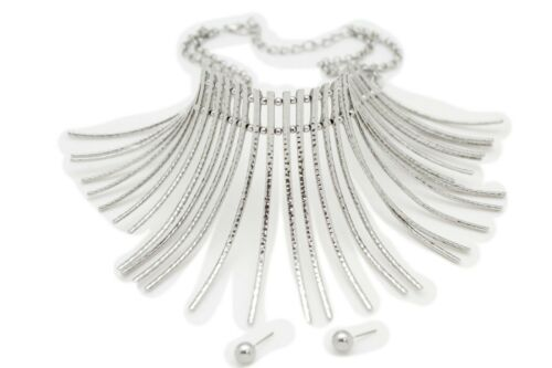Women Silver Metal Chain Fashion Long Stripes Ethnic African Style Necklace