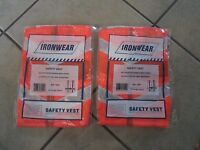 2 Ironwear Safety Vests-one Size Fits All-100% Polyester Orange Mesh (g 5)