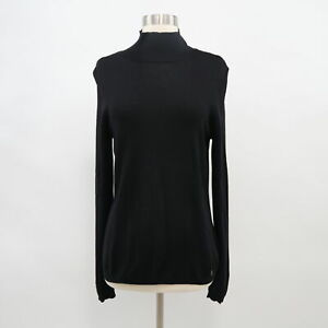 ESCADA-Turtleneck-Sweater-Pullover-Wool-Cashmere-Silk-Black-Knit-Fitted-US12-D42