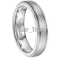 5mm Tungsten Ring Mens Lady Wedding Band Brushed Celtic Design Bridal All Size
