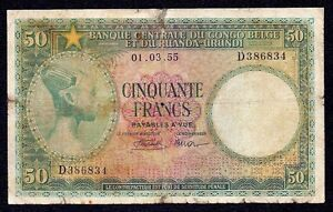 Belgian Congo  50  Francs  P-27b  1955   Prefix D