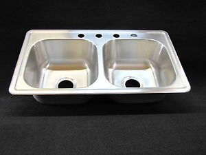 Details About 33 X 19 8 Extra Deep Double Bowl Kitchen Sink Stainless Mobile Home Rv