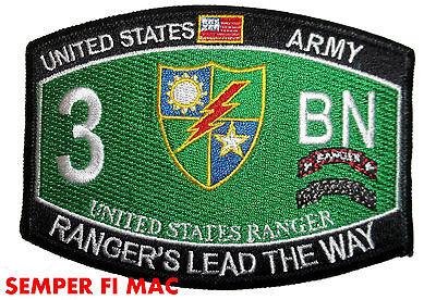 3RD RANGER BATTALION HAT PATCH FORT BENNING PIN UP 75TH RANGER REGIMENT US ARMY