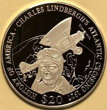 Liberia $20 Dollars 2001 Proof Silver Charles Lindbergh Atlantic Crossing