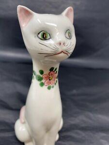 VINTAGE CAT VASE 60s MID CENTURY MODERN Macy Art Pottery Ceramic Cat Green Eyes