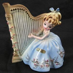 rare-vintage-josef-originals-girl-with-harp-blue-dress-5-5-034-tall