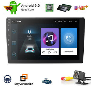 10,1 Zoll Quad Core Android 9.0 Doppel 2 DIN Autoradio Bluetooth GPS Navi DAB+