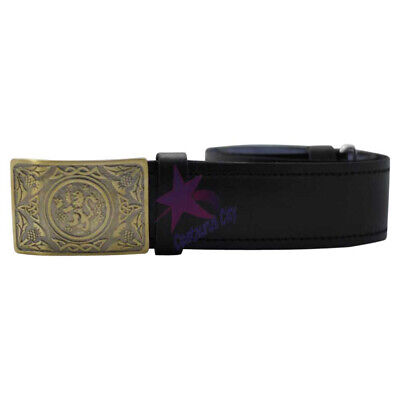 CC Scottish Highland Leather Plain Kilt Belt /& Rampant Lion Cross Swords Buckle