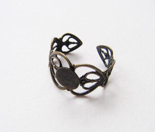 Fingerring Komponenten Ring Rohlinge bronze Herzen 2 Stück SERAJOSY