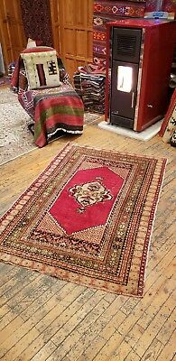 "Authantique Antique 1920-1940's Natural Dyes,wool Pile Kirsehir Rug 3'5""×5'1"" Elegant In Style Antiques"