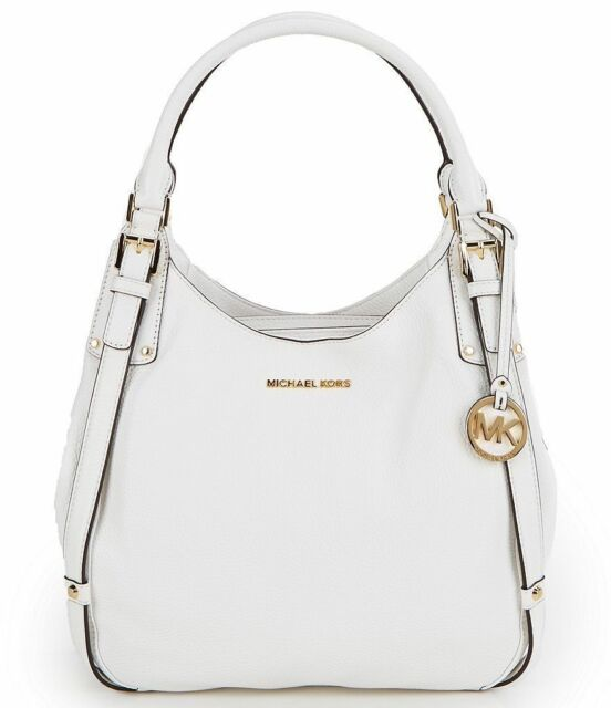 9fad2d5cac08d9 NWT Michael Kors Bedford White Leather Belted Large Shoulder Bag Tote $398  New