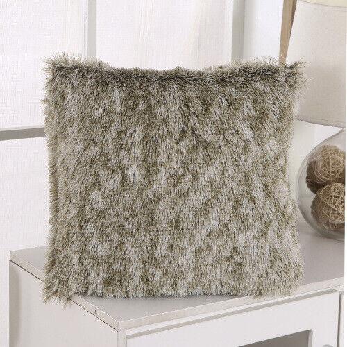 "US 17/"" Luxury Fluffy Cushion Cover Furry Soft Pillow Case Plush Home Sofa Decor"