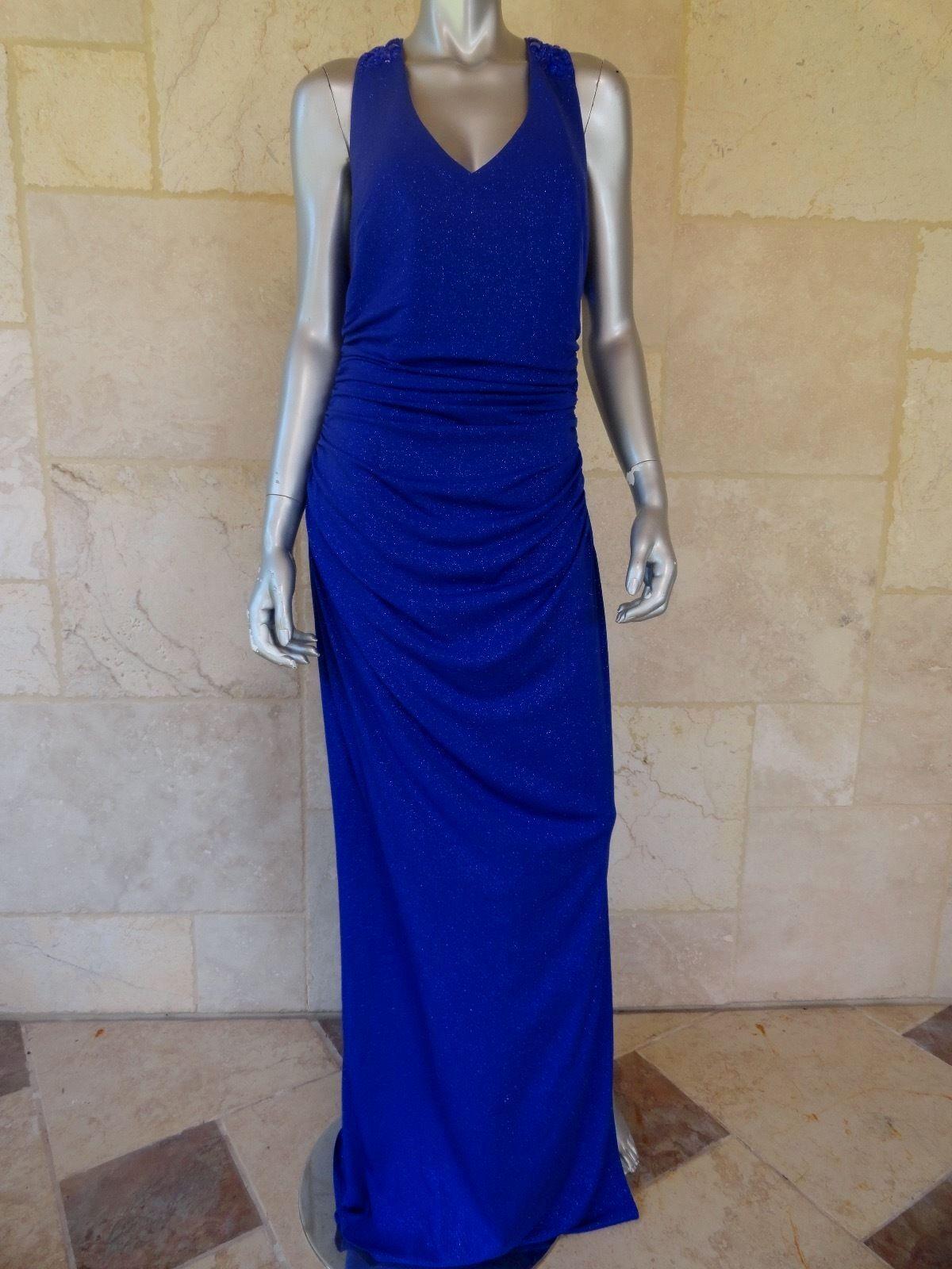LAUNDRY BY SHELLI SEGAL Blau Glitter Open Back Prom Evening Dress Gown Sz12