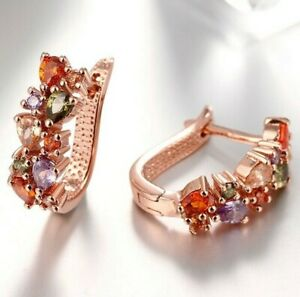 Women-Fashion-18K-Rose-Gold-Plated-Gemston-Crystal-Leverback-Earring-ITALY-MADE