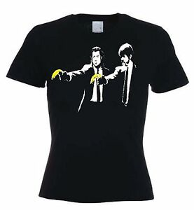 BANKSY-PULP-FICTION-WOMENS-T-SHIRT-Sizes-Small-to-XL