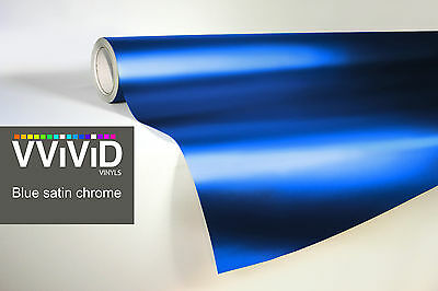VVIVID8 blue chrome satin matte car wrap vinyl 2ft x 5ft conform stretch 3MIL