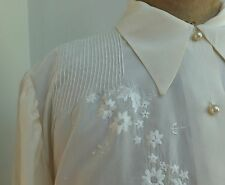 Beautiful Handmade Vintage Silk Blouse Hand Embroidery Pin Tucks Tailored 40's