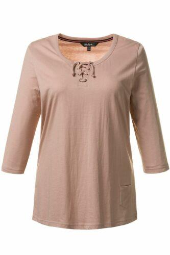 ULLA POPKEN Shirt Schnürung Slim meliert 3//4-Arm rosa NEU