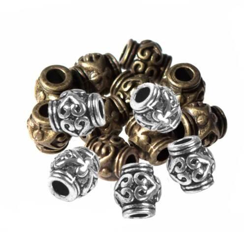 10 Schmuck-Perlen Metallperle Zwischenelement Spacer 7x6mm antik-silber messing
