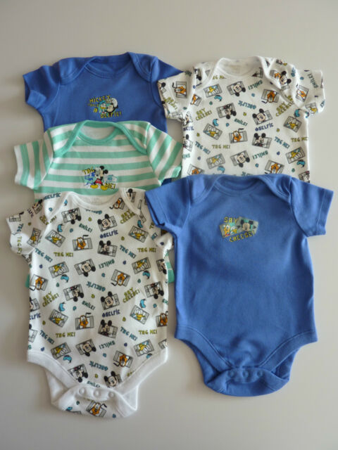 Disney MICKEY and FRIENDS 5 Short Sleeved Bodysuits / Vests NEW in Pack