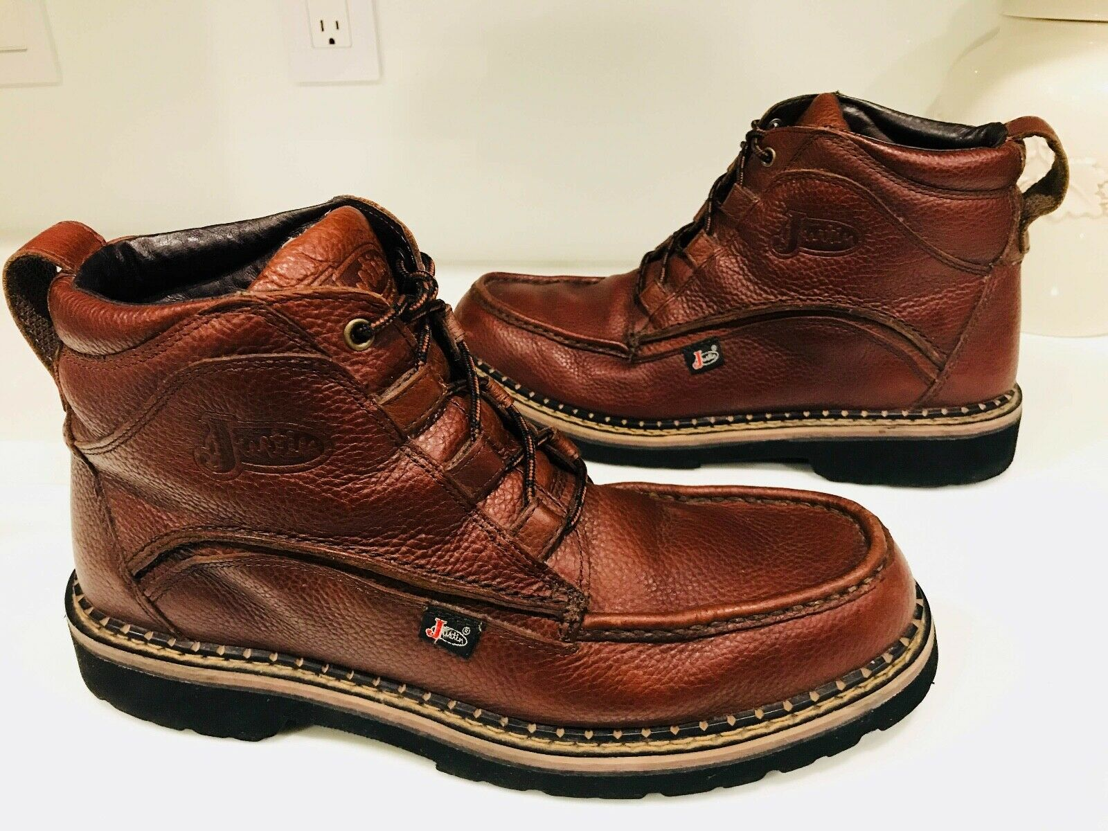 Justin Brown Leather Mens Work Boots Size 13M Slip Resistant Pull-Up Ankle shoes