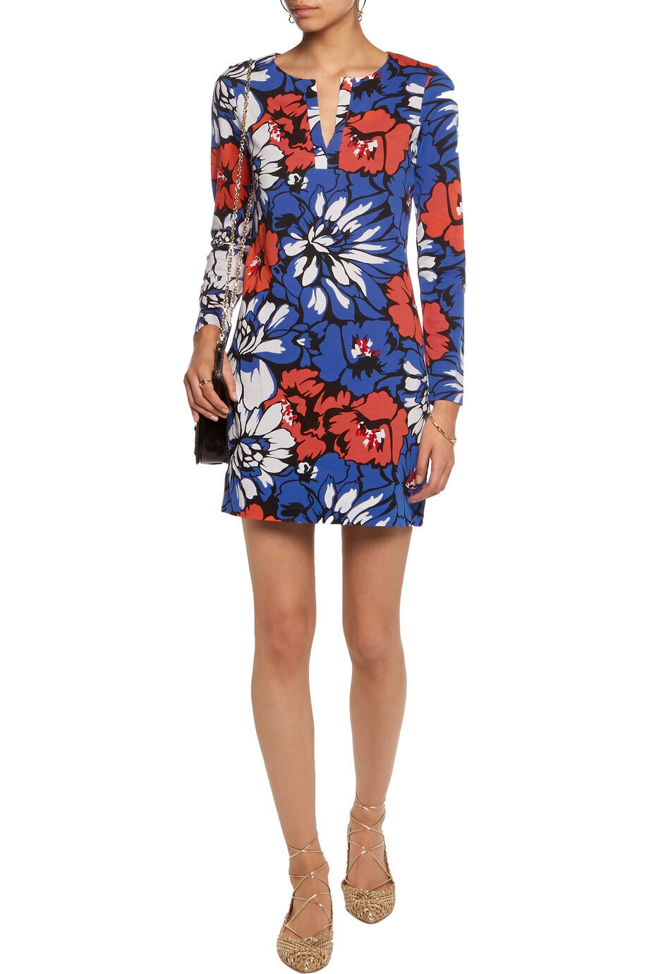 NWT- DVF Reina floral cotton silk-blend jersey dress (Size 4)